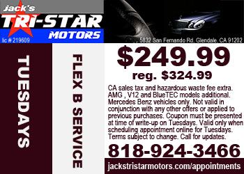 Mercedes benz repair by jack 39 s tri star motors in glendale for Service coupons for mercedes benz