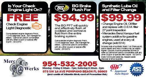 Mercedes benz repair by merc werks in pompano beach fl for Mercedes benz of pleasanton service coupons