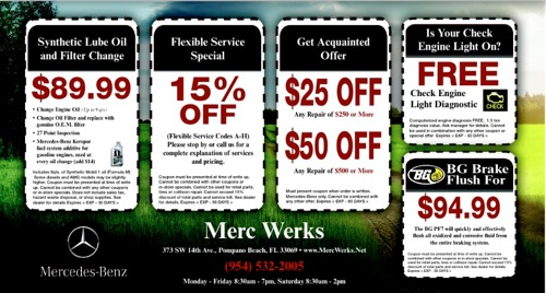 Mercedes benz repair by merc werks in pompano beach fl for Service coupons for mercedes benz